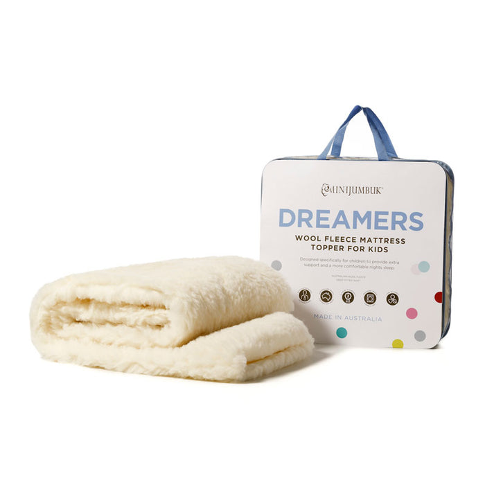 Dreamers Kids Australian Wool Fleece Mattress Topper by MiniJumbuk