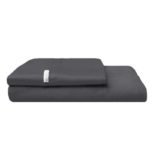 300TC Cotton Percale Fitted Sheet and Pillowcase Combo Charcoal by Logan and Mason