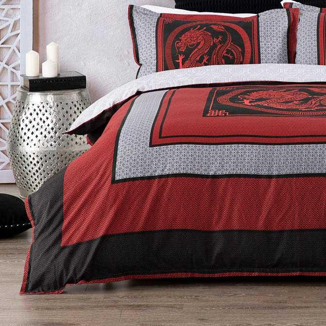 Liang Red Quilt Cover Set by Logan and Mason