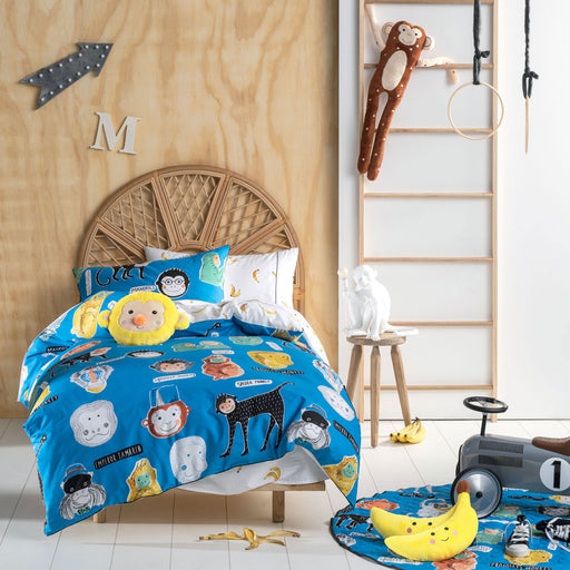 Monkey Business Blue Quilt Cover Set by Hiccups