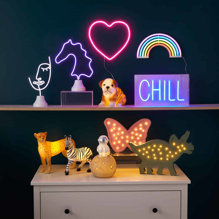 Horse Head LED Neon Light on Stand by Pilbeam Living