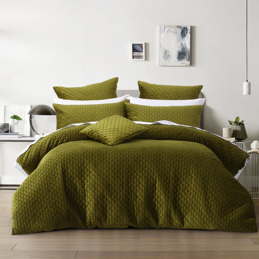Alden Olive Quilt Cover Set by Bianca