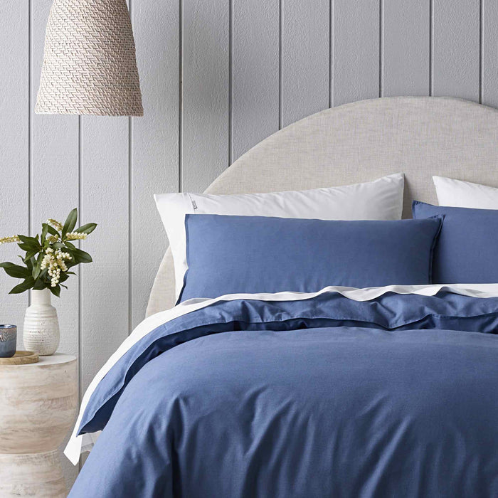 Riviera Organic Washed Cotton Quilt Cover Set Range Blue by Bianca