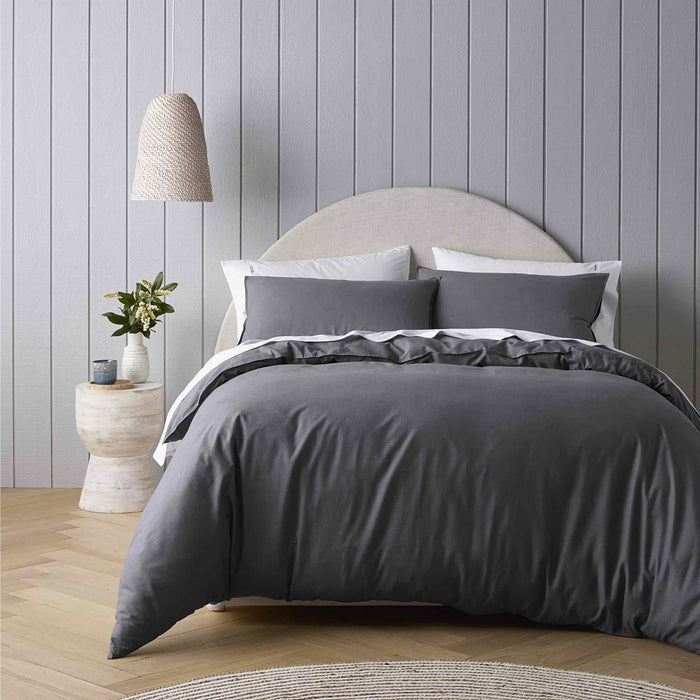 Riviera Organic Washed Cotton Quilt Cover Set Range Charcoal by Bianca