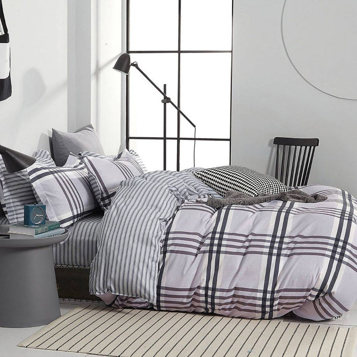 Stanton Grey Quilt Cover Set by Ardor