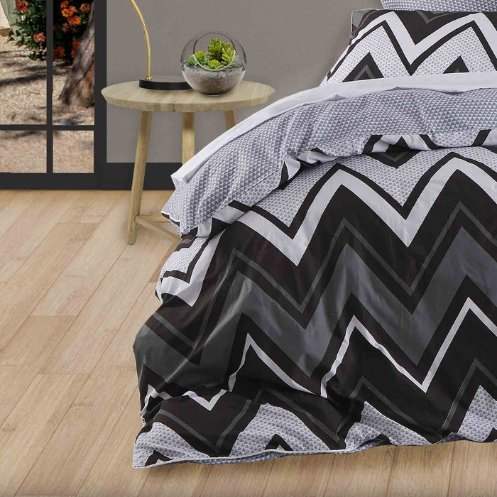 Tycen Black Quilt Cover Set by Logan and Mason