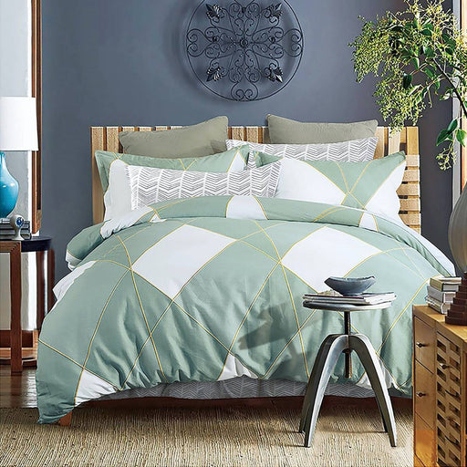 Turin Aqua Quilt Cover Set by Ardor