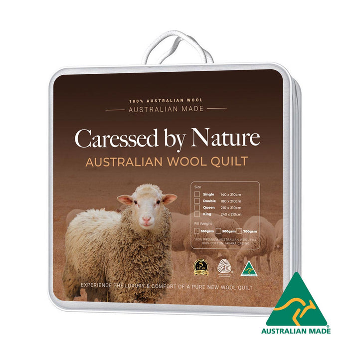 Classic Australian Wool Quilt 500gsm by Caressed by Nature