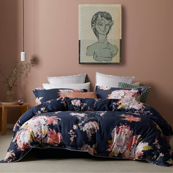 Hope Navy Quilt Cover Set By Logan & Mason