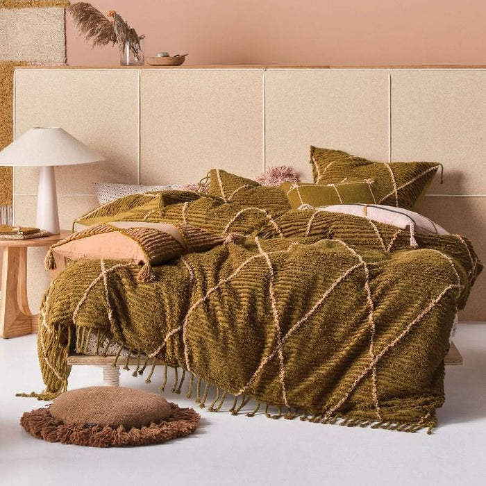 Asha Olive Quilt Cover Set by Linen House