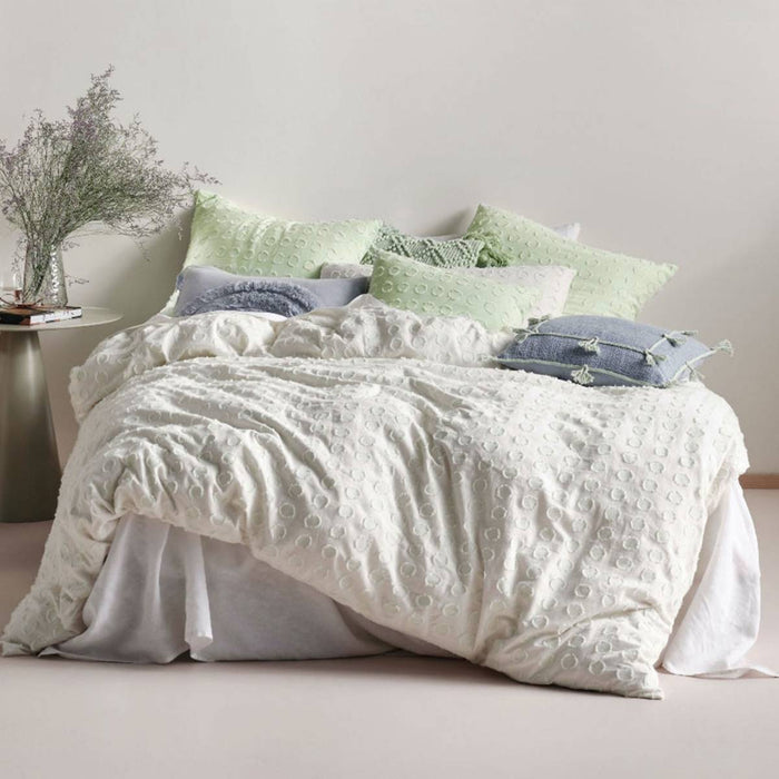 Benedita Mint Quilt Cover Set by Linen House