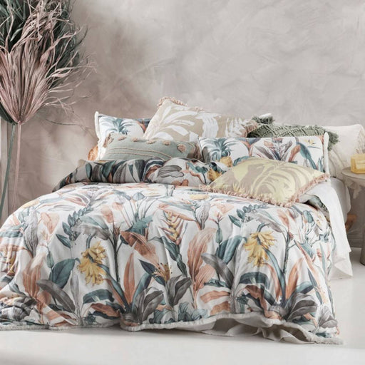 HABITATION TEAL QUILT COVER SET BY LINEN HOUSE