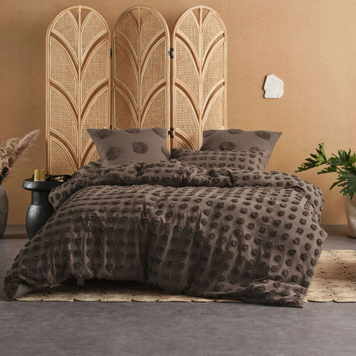 Haze Mocha Quilt Cover Set by Linen House
