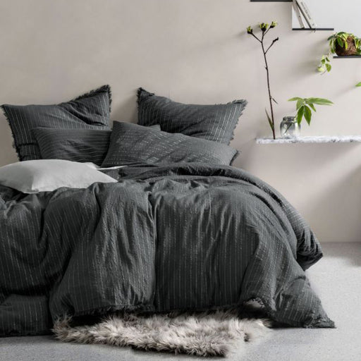 Lunar Charcoal Quilt Cover Set by Linen House