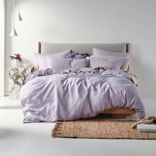 Nimes Lilac Linen Quilt Cover Set by Linen House