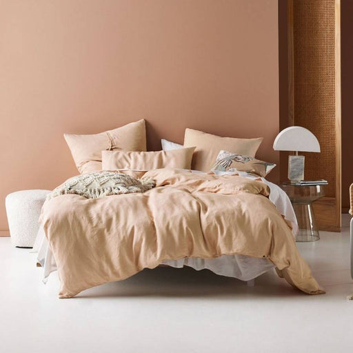 Nimes Nude Linen Quilt Cover Set by Linen House