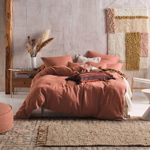 Nimes Rust Linen Quilt Cover Set by Linen House