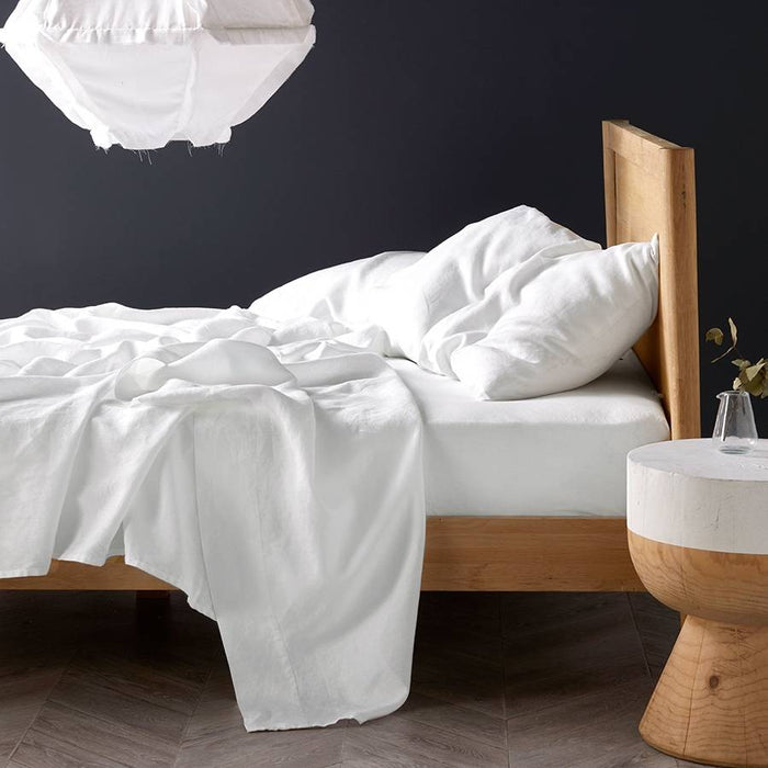 Nimes Pure Linen White Sheet Set by Linen House