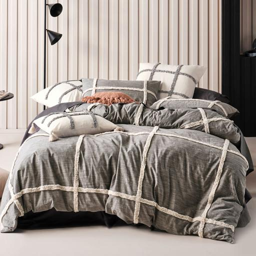 Lyndon Charcoal Quilt Cover Set by Linen House