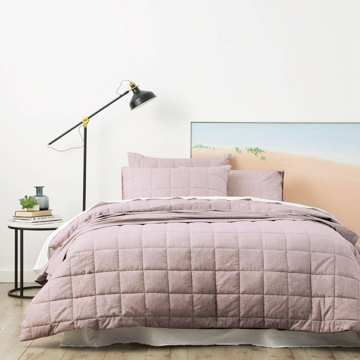 Park Avenue Paradis PLUM Washed Chambray Quilted Quilt Cover