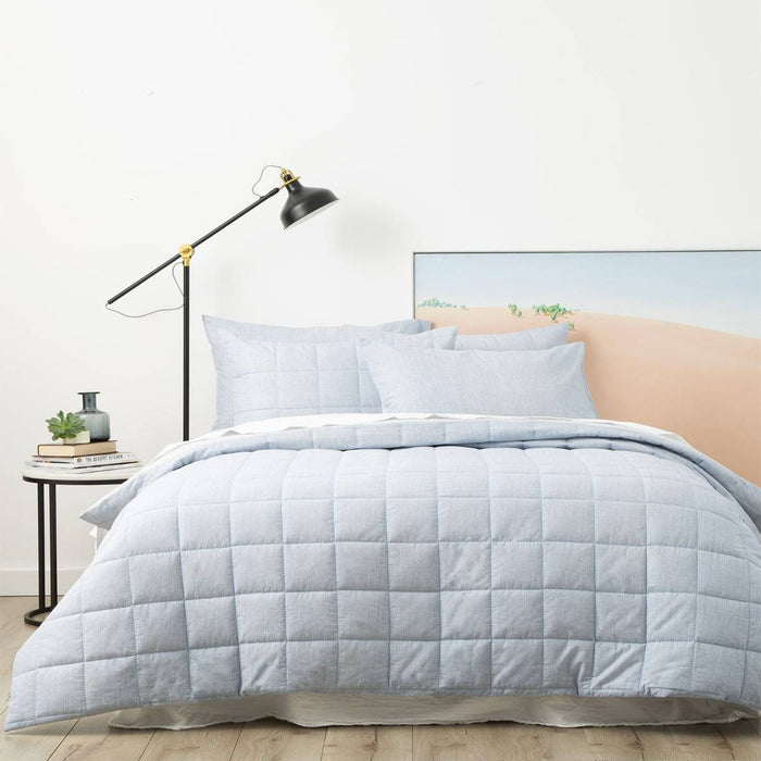 Park Avenue Paradis SKY Washed Chambray Quilted Quilt Cover Set