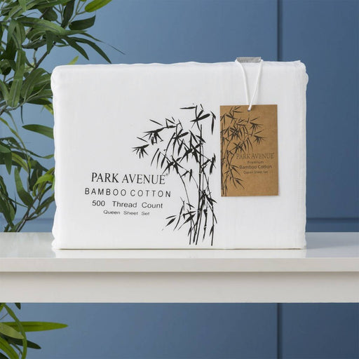 Park Avenue 500 Thread Count White Natural Bamboo Cotton Sheet Sets