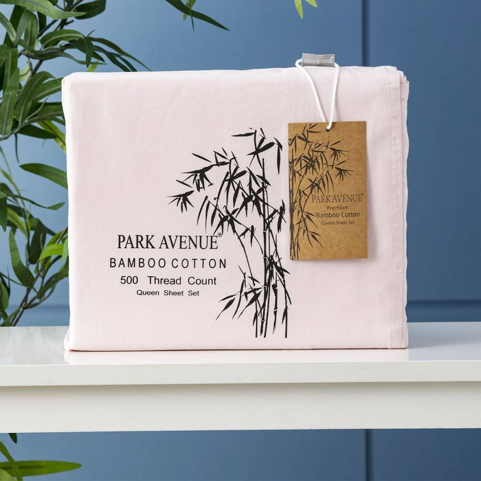 Park Avenue 500 Thread Count Peach Natural Bamboo Cotton Sheet Set