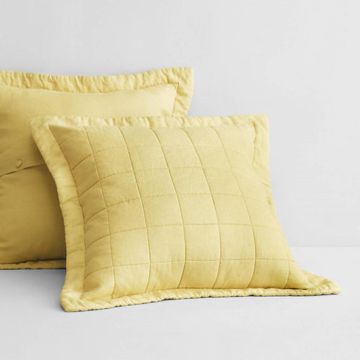 Abbotson Chartreuse Linen Quilted European Pillowcase by Sheridan