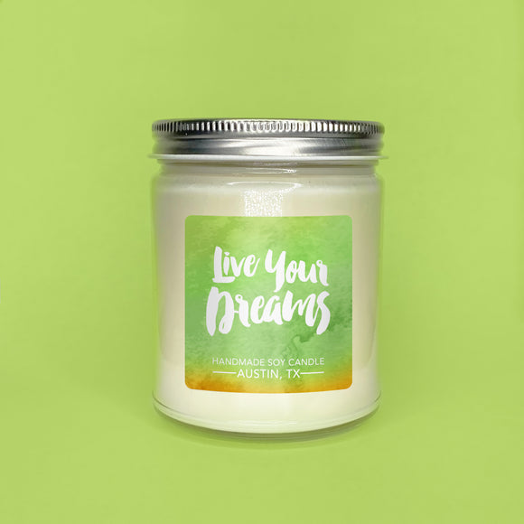 Honeydew Melon Soy Candle 8 oz Jar - Live Your Dreams