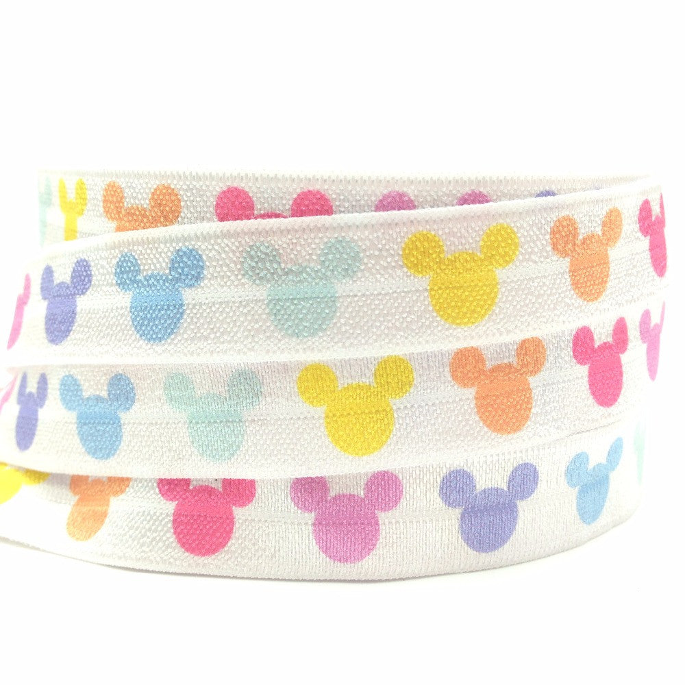 Mickey Print Fold Over Elastic 5/8""