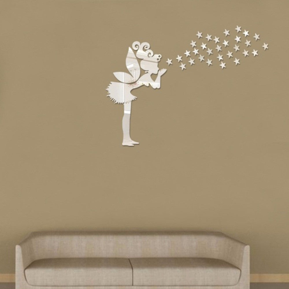 Magical Fairy & Stars 3D Mirror Wall Sticker Decoration