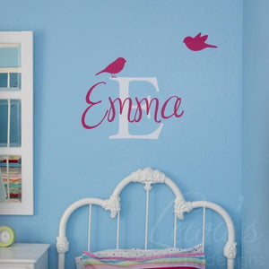 CUSTOM Birdies Monogram and Name Vinyl Wall Decal Set Font Option 1