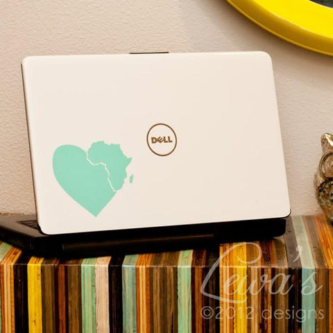 Heart in Africa Vinyl Laptop Decal - Supports Adoption
