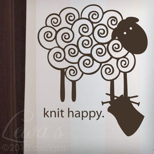 Knit Happy Sheep Vinyl Wall Decal