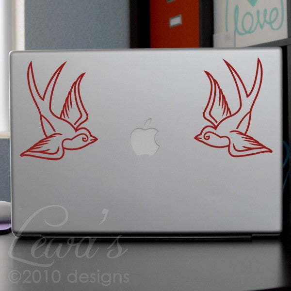 2 Swallows Laptop Decal Set