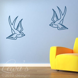 2 Swallows Wall Decal Set
