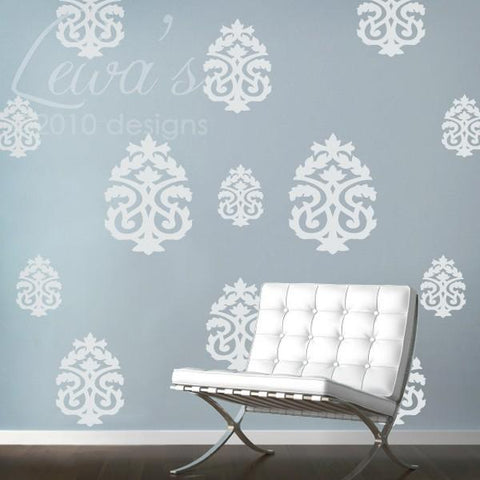 Damask Vinyl Wall Decal Accents