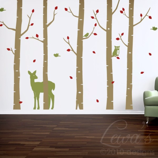 Woodland Animals Birch Tree Forest Vinyl Wall Decal Set