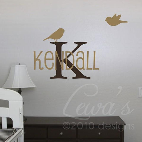 CUSTOM Birdies Monogram and Name Vinyl Wall Decal Set Font Option 2