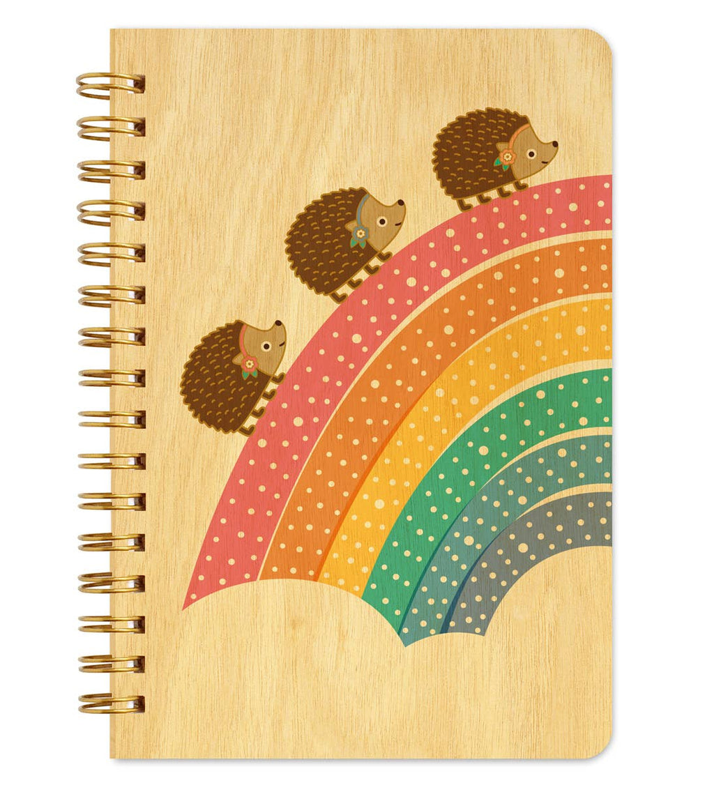 Night Owl Paper Goods - Marching Hedgehogs Wood Notebook
