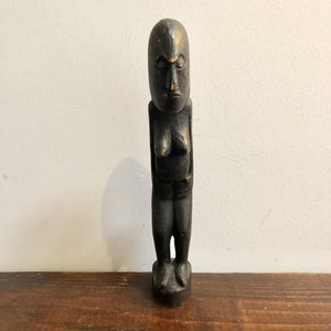 Vintage Dark Wooden Totem Lady Figure