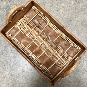 Wood and Woven Basket Serving Tray