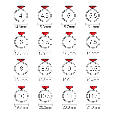 ring size chart - how to measure ring size