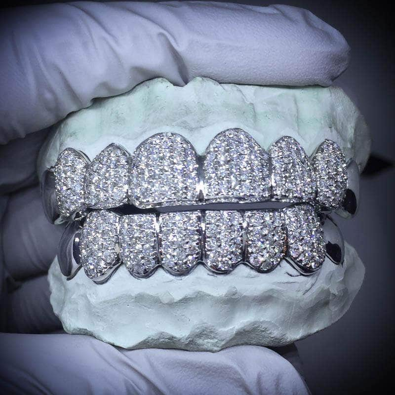Gold Presidents Grillz No Top Teeth / 4 Bottom Teeth / SI Custom Diamond Grillz (Hand Set)