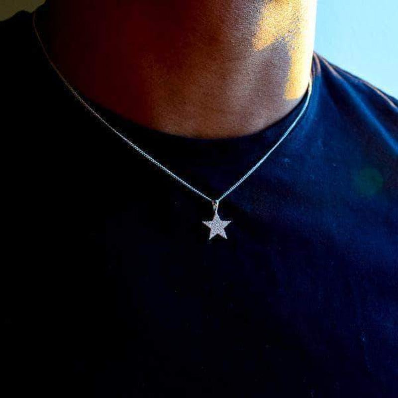 Gold Presidents Necklace White Gold 5 Point Star Necklace