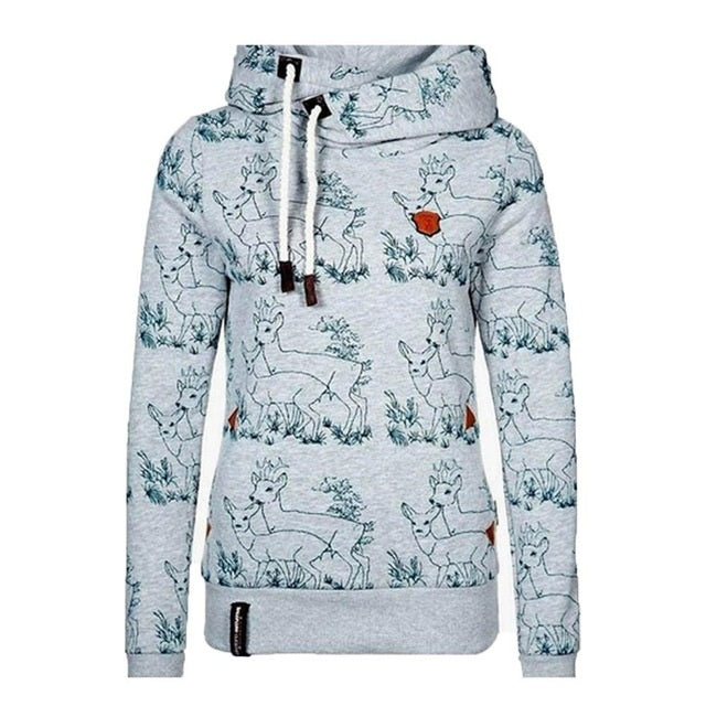 fox accessories deer print gray hoodie / sweatshirt