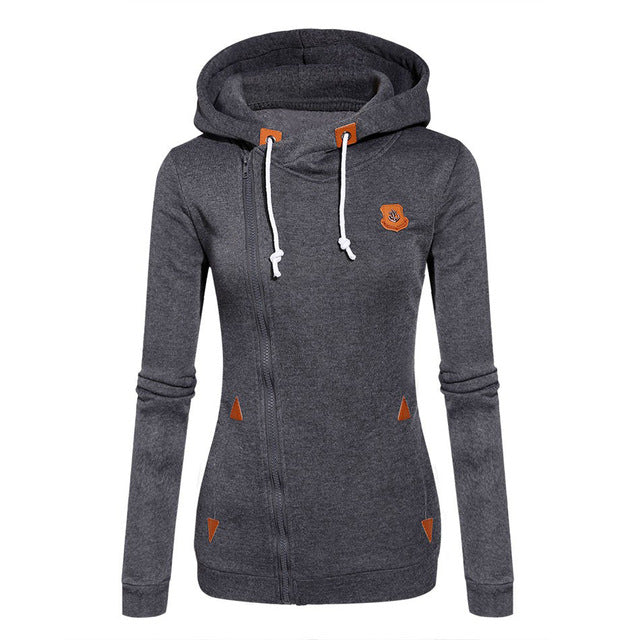 Women  Long Sleeve Candy Color Hooded Sweatshirt