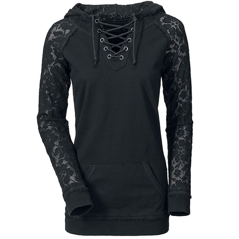 Fox Accessories Women Lace Patchwork Drawstring Black Sweatshirt