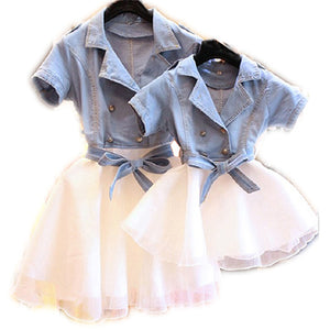 Hot Mother Daughter Dresses Summer Short Sleeved Dress Family Matching Clothes Cotton Mom And Daughter Dress Family Clothing