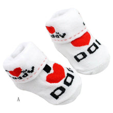 0-6M baby socks Love Dad Love Mum Letter Socks Baby Infant Boy Girl Slip-resistant Floor Socks drop shipping